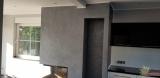 Kamin in Art Velluto, dekorative, metallisch-schattierend wirkende Spachtelmasse mit Samteffekt