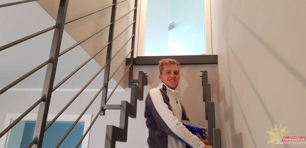 42 Treppengeländer beschichtet in Sandstrahloptik